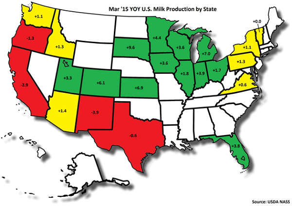 Mar '15 US Milk Production by State