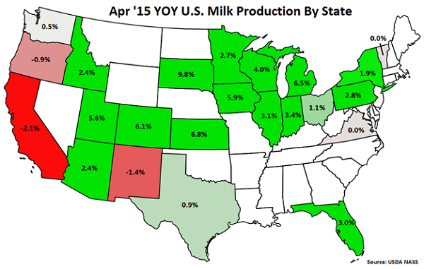 Apr '15 YOY US Milk Production by State - May