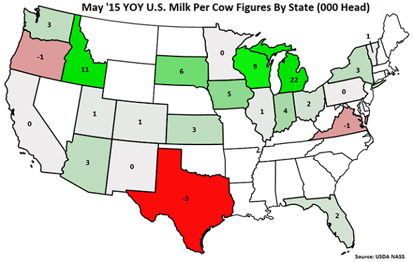 May '15 YOY US Milk Cow Figures by State - June