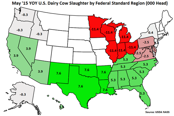 May'15 YOY US Dairy Cow Slaughter by Standard Federal Region - June