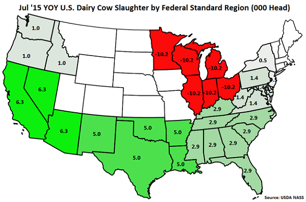 Jul '15 YOY US Dairy Cow Slaughter by Standard Federal Region - Aug
