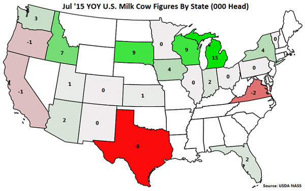 Jul '15 YOY US Milk Cow Figures by State - Aug