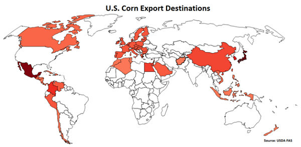 US Corn Export Destinations - Aug