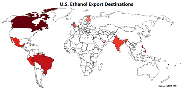 US Ethanol Export Destinations - Aug