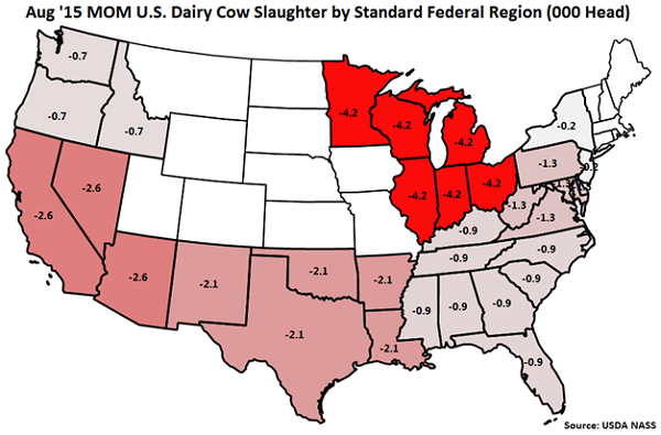 Aug 15 MOM US Dairy Cow Slaughter by Standard Federal Region - Sep