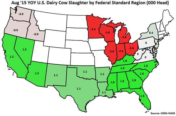 Aug 15 YOY US Dairy Cow Slaughter by Standard Federal Region - Sep