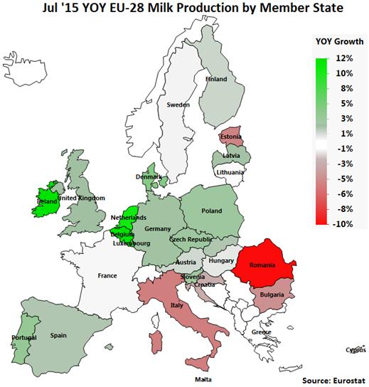 Jul 15 YOY EU-28 Milk Production by Member State - Sep