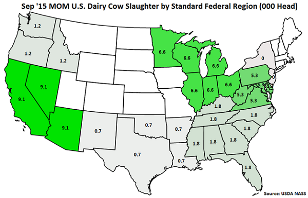 Sep 15 MOM US Dairy Cow Slaughter by Standard Federal Region - Oct