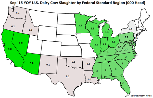 Sep 15 YOY US Dairy Cow Slaughter by Standard Federal Region - Oct