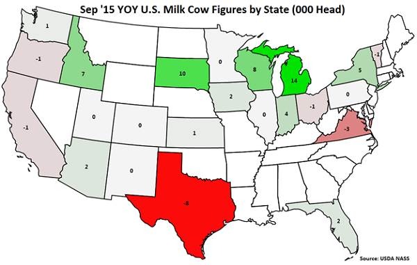 Sep 15 YOY US Milk Cow Figures by State - Oct