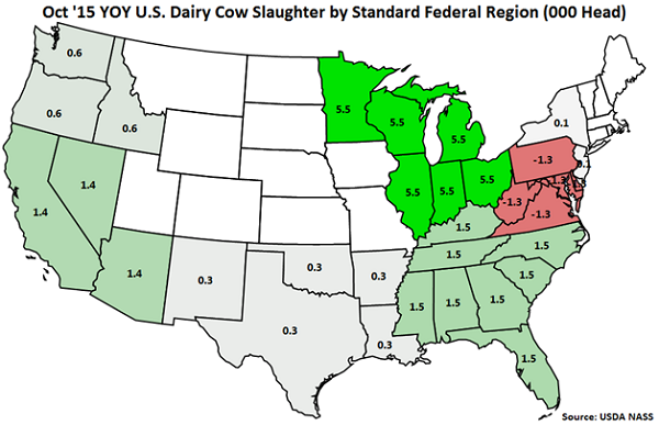 Oct 15 YOY US Dairy Cow Slaughter by Standard Federal Region - Nov