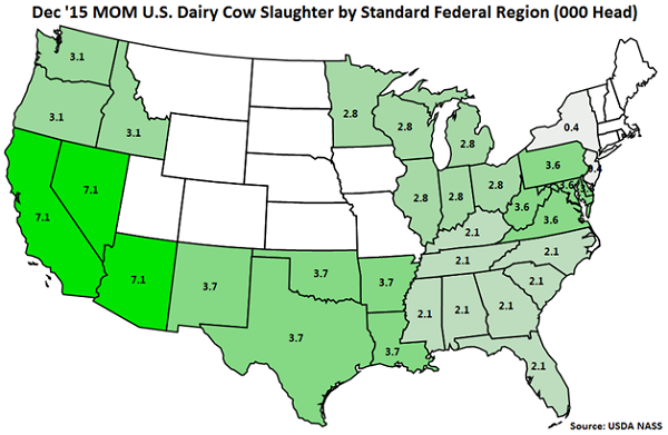 Dec 15 MOM US Dairy Cow Slaughter by Standard Federal Region - Jan 16