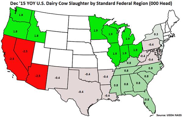 Dec 15 YOY US Dairy Cow Slaughter by Standard Federal Region - Jan 16