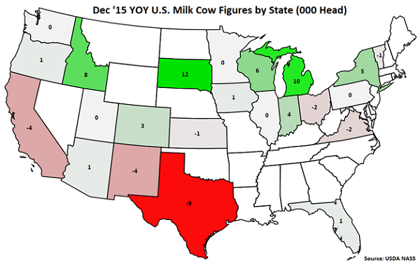 Dec 15 YOY US Milk Cow Figures by State - Jan 16