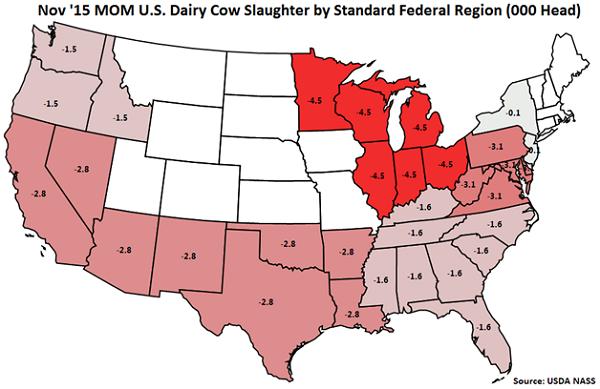 Nov 15 MOM US Dairy Cow Slaughter by Standard Federal Region - Dec