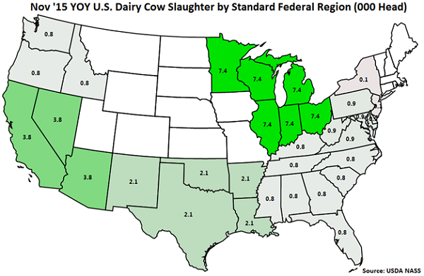 Nov 15 YOY US Dairy Cow Slaughter by Standard Federal Region - Dec
