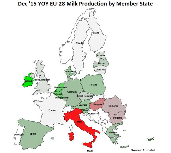 Dec 15 YOY EU-28 Milk Production by Member State - Feb 16