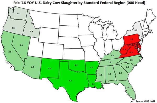 Feb 16 YOY US Dairy Cow Slaughter by Standard Federal Region - Mar 16