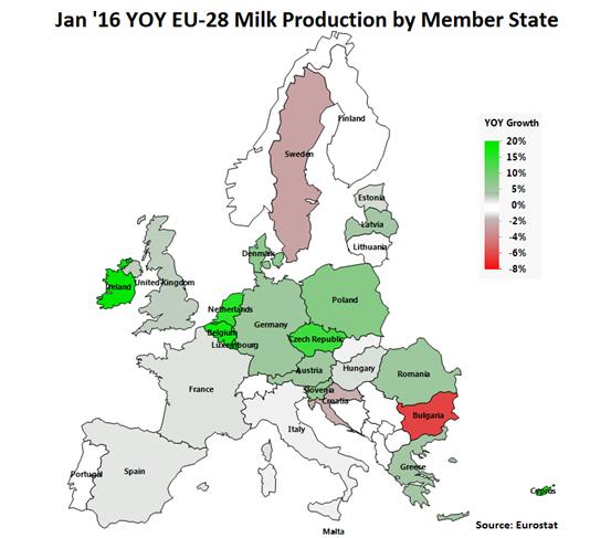 Jan 16 YOY EU-28 Milk Production by Member State - Mar 16