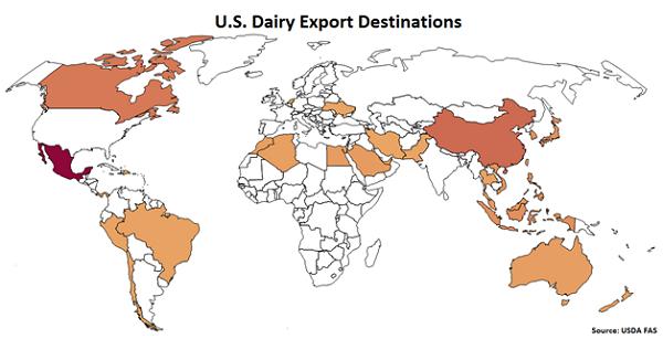 US Dairy Export Destinations - Mar 16