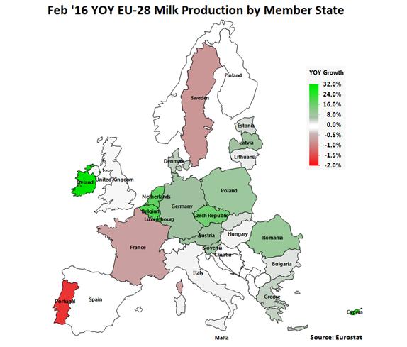 Feb 16 YOY EU-28 Milk Production by Member State - Apr 16