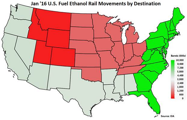 Jan 16 US Fuel Ethanol Rail Movements by Destination - Apr 16