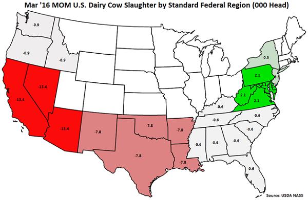 Mar 16 MOM US Dairy Cow Slaughter by Standard Federal Region - Apr 16