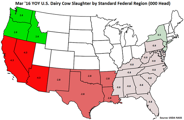 Mar 16 YOY US Dairy Cow Slaughter by Standard Federal Region - Apr 16